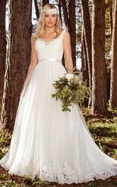 V-neck Cap-sleeve Tulle Ball Gown With Appliques And Court Train