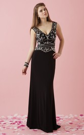 Plunged Sleeveless Jersey Sheath Prom Dress With Beading