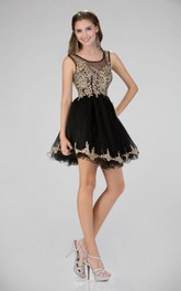 A-Line Short Bateau Sleeveless Illusion Dress With Appliques