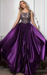 square neck Sleeveless Satin Dress With Beading And Low-V Back