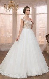Bateau Cap-sleeve A-line Ball Gown Wedding Dress With Appliques And Low-V Back