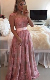 Cap-sleeve Lace Appliqued long Prom Dress With Pleats