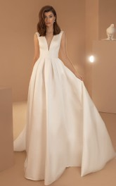Simple Sleeveless Ball Gown Satin V-neck Wedding Dress with Pockets and Zipper Back