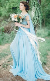 flowy Chiffon Pleated long Dress With Court Train