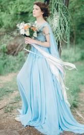 flowy Chiffon Pleated long Dress With Court Train
