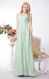 A-Line Has Crisscross Ruched Bodice Chiffon V-Neckline Gown