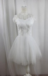 High Neck Lace Short Sleeve A-line Wedding Dress With Tulle skirt