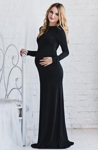 Sheath High Neck  Long Sleeve Floor-length Jersey Maternity Dress