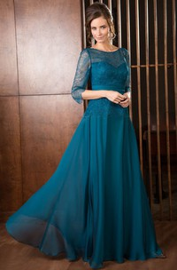 Scoop-Neckline Long-Sleeve A-Line Chiffon Mother Of The Bride