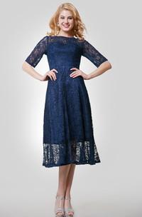 Tea-Length Jewel Neck Lace Half-Sleeve Gown