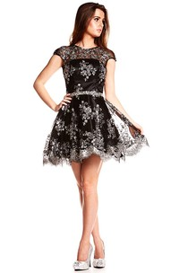 A-Line Short Beaded Jewel Cap-Sleeve Satin Prom Dress With Backless Style And Waist Jewellery