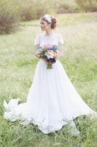 Chiffon Satin Ribbon Low-V Back Short-Sleeve Jewel Dress