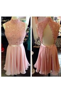 Pretty Halter Neck Backless Short Chiffon Dress