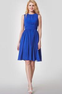 Knee-Length Pleated High-Neckline Amazing Chiffon Gown