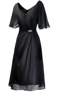 Rhinestone Ruched Tea-Length Short-Sleeved Gown