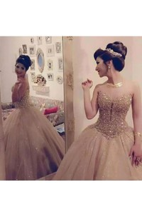 Ball Gown Sleeveless Floor-length Sweetheart Tulle Sequins Prom Dress with Zipper Back