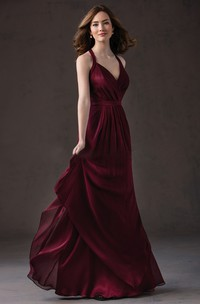 Haltered Sleeveless Long Jersey Dress With Ruching