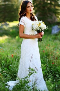 Jewel Lace Cap Short Sleeve Wedding Dress