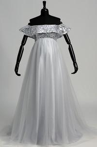 Off-the-shoulder Short Sleeve Empire Maternity Beading Pleats Dress
