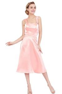 Satin Bateau Neck Tea-Length Sleeveless Gown