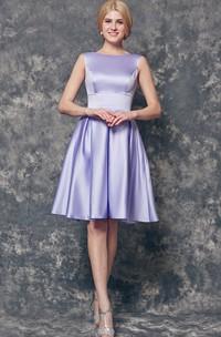 Short Bridesmaid High-Neckline A-Line Satin Gown