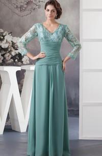 Chiffon Illusion Neck Appliqued V-Neckline Floor-Length Dress