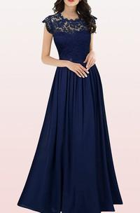 Modern Scalloped Chiffon A Line Evening Dress With Pleats