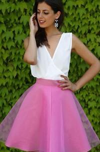 Sleeveless A-line Ball Gown Short Mini V-neck Criss Cross Chiffon Organza Homecoming Dress