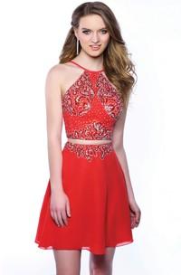 Two Piece Chiffon A-Line Short Sleeveless Homecoming Dress Featuring Bodice Rhinestones
