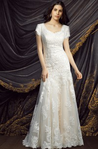 Lace Short Sleeve V-neck Sheath Wedding Dress With Appliques And Court Train