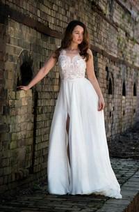 Sleeveless Slit Side Wedding V-Neckline Sassy Chiffon Gown