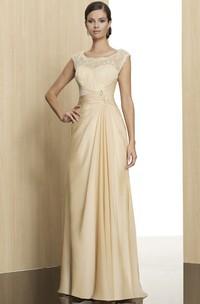 Scoop-Neckline Low-V Back Sleeveless Floor-Length Formal Dress