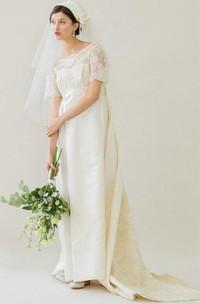 Satin Watteau Train Bateau-Neckline Vintage Dress