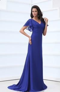 Chiffon Bell-Sleeve V-Neckline Ethereal Floor-Length Pleated Dress