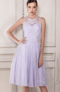 A-Line Knee-Length Scoop Sleeveless Tulle Pleats Lace Button Dress