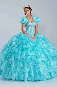 Lace-Up Sweetheart Neck Back Cascading Skirt Ruffle Ball Gown