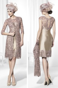Pencil short Satin Lace Mother of the Bride Dress With bolero