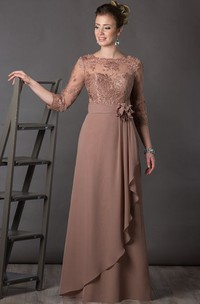 Bateau 3-4-sleeve draped Mother of the Bride Dress With Appliques And Low-V Back