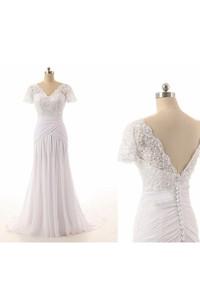 Jewel Tulle 3-4-Length Column Lace Chiffon Dress
