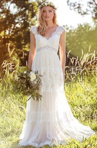 ethereal V-neck cap-sleeve Lace Wedding Dress