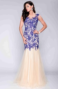 Scoop-neck Mermaid Tulle Prom Dress With Beading And Appliques