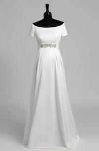 Off-the-shoulder Short Sleeve Empire Maternity Beading Ruffles Wedding Dress