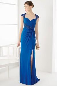 Illusion Cap Sleeve Sheath Long Prom Dress With Side Split