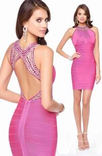 Pencil Short Jewel-Neck Sleeveless Keyhole Dress With Beading