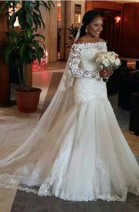 Off-the-shoulder Lace Illusion Long Sleeve Wedding Dress