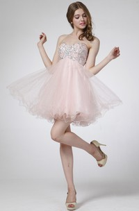 A-Line Tulle Jeweled Mini Sweetheart Sleeveless Strapless High-Waist Dress