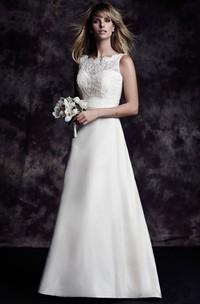 Floor-Length Bow Deep-V Back Long Taffeta Elegant Dress
