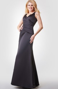 Plunged Sleeveless Satin Dress With Ruching And Low-V Back