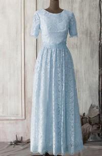 Pleated Keyhole Half-Sleeve Scoop-Neckline Ankle-Length Dress