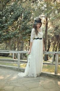Bridal Satin Sash Button Back Half-Illusion-Sleeve Scoop-Neck Dress